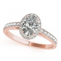 Diamond Halo Oval Shape Engagement Ring 18k Rose Gold (1.00ct)