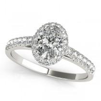 Diamond Halo Oval Shape Engagement Ring 18k White Gold (1.00ct)
