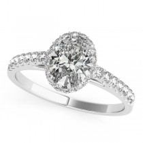 Diamond Halo Oval Shape Engagement Ring 14k White Gold (1.47ct)