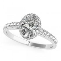 Diamond Halo Oval Shape Engagement Ring 14k White Gold (1.47ct)