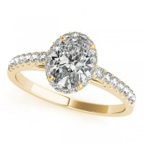 Diamond Halo Oval Shape Engagement Ring 14k Yellow Gold (1.47ct)