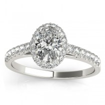 Diamond Halo Oval Shaped Engagement Ring 14k White Gold (0.26ct)