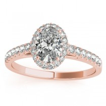 Diamond Halo Oval Shape Engagement Ring 18k Rose Gold (0.26ct)