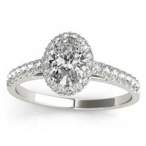 Diamond Halo Oval Shape Engagement Ring Platinum (0.26ct)