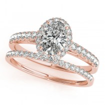 Diamond Accented Halo Oval Shaped Bridal Set 14k Rose Gold (1.11ct)