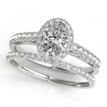 Diamond Accented Halo Oval Shaped Bridal Set Palladium (1.11ct)