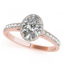 Diamond Accented Halo Oval Shape Bridal Set 14k Rose Gold (1.58ct)