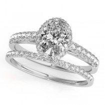 Diamond Accented Halo Oval Shape Bridal Set 14k White Gold (1.58ct)