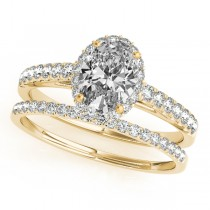 Diamond Accented Halo Oval Shape Bridal Set 14k Yellow Gold (1.58ct)