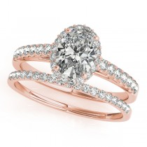Diamond Accented Halo Oval Shape Bridal Set 18k Rose Gold (1.58ct)