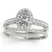 Diamond Accented Halo Oval Shaped Bridal Set 18k White Gold (0.37ct)