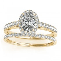 Diamond Accented Halo Oval Shaped Bridal Set 18k Yellow Gold (0.37ct)