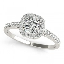 Cushion Diamond Halo Engagement Ring 14k White Gold (1.54ct)