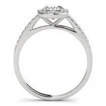 Cushion Diamond Halo Engagement Ring 14k White Gold (1.54ct)