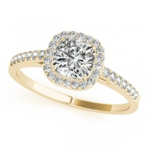 Cushion Diamond Halo Engagement Ring 14k Yellow Gold (1.54ct)