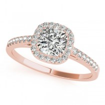 Cushion Diamond Halo Engagement Ring 18k Rose Gold (1.54ct)