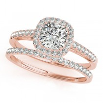 Cushion Diamond Halo Bridal Set 14k Rose Gold (1.65ct)