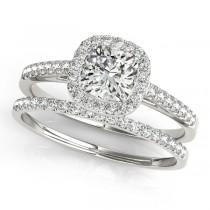 Cushion Diamond Halo Bridal Set 18k White Gold (1.65ct)