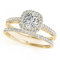 Cushion Diamond Halo Bridal Set 18k Yellow Gold (1.65ct)