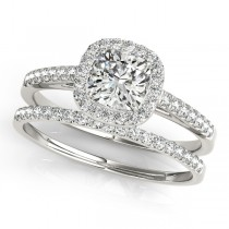 Cushion Diamond Halo Bridal Set Palladium (1.65ct)