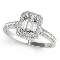 Diamond Halo Emerald-Cut Engagement Ring 14k White Gold (0.90ct)