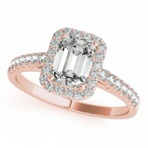 Diamond Halo Emerald-Cut Engagement Ring 18k Rose Gold (0.90ct)