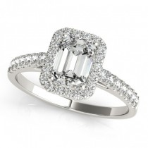 Diamond Halo Emerald-Cut Engagement Ring 18k White Gold (0.90ct)