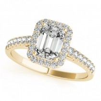 Diamond Halo Emerald-Cut Engagement Ring 18k Yellow Gold (0.90ct)