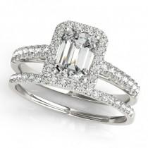 Diamond Halo Emerald-Cut Bridal Set 18k White Gold (1.00ct)