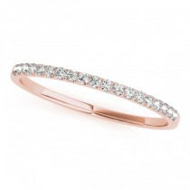 Diamond Prong Wedding Band Ring 18k Rose Gold (0.11ct)
