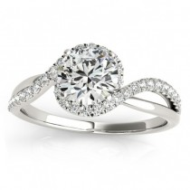 Halo Diamond Twisted Engagement Ring Setting 14k White Gold (0.20ct)