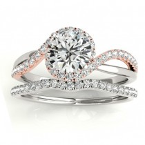 Diamond Halo Twisted Ring Setting & Band Bridal Set 14k Rose Gold 0.33ct