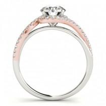 Diamond Halo Twisted Ring Setting & Band Bridal Set 14k Rose Gold 0.33ct