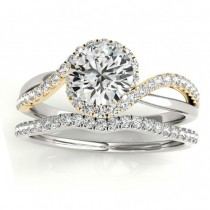 Diamond Halo Twisted Ring Setting & Band Bridal Set 14k Y. Gold 0.33ct