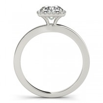 Diamond Square Solitaire Halo Engagement Ring 14k White Gold (1.12ct)