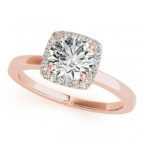Diamond Square Solitaire Halo Engagement Ring 18k Rose Gold (1.12ct)