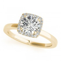 Diamond Square Solitaire Halo Engagement Ring 18k Yellow Gold (1.12ct)