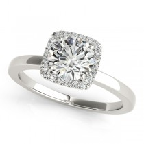 Diamond Square Solitaire Halo Engagement Ring Platinum (1.12ct)