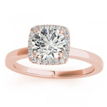 Diamond Halo Solitaire Engagement Ring Setting 14k Rose Gold (0.06ct)