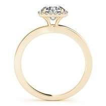 Diamond Halo Solitaire Engagement Ring Setting 14k Yellow Gold (0.06ct)