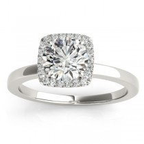 Diamond Halo Solitaire Engagement Ring Setting 18k White Gold (0.06ct)