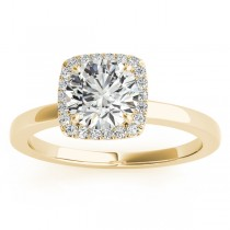 Diamond Halo Solitaire Engagement Ring Setting 18k Yellow Gold (0.06ct)