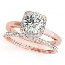Diamond Square Halo Bridal Set 14k Rose Gold (1.26ct)