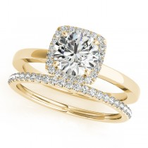 Diamond Square Halo Bridal Set 14k Yellow Gold (1.26ct)