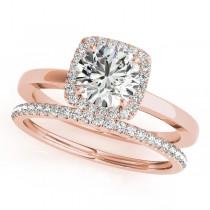Diamond Square Halo Bridal Set 18k Rose Gold (1.26ct)