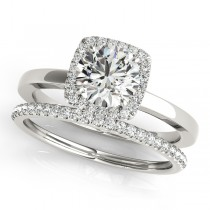 Diamond Square Halo Bridal Set 18k White Gold (1.26ct)