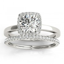 Diamond Halo Solitaire Bridal Set Setting 14k White Gold (0.20ct)