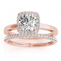 Diamond Halo Solitaire Bridal Set Setting 18k Rose Gold (0.20ct)