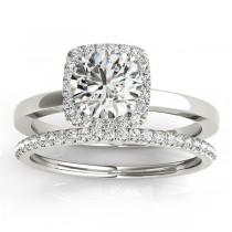 Diamond Halo Solitaire Bridal Set Setting Palladium (0.20ct)