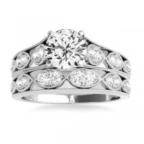 Graduating Diamond Side Stone Accents Bridal Set 14k White Gold 0.40ct